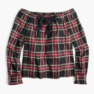 J. Crew Off the Shoulder Silk Top in Plaid size XS